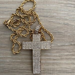 Gold silver big cross Jesus necklace